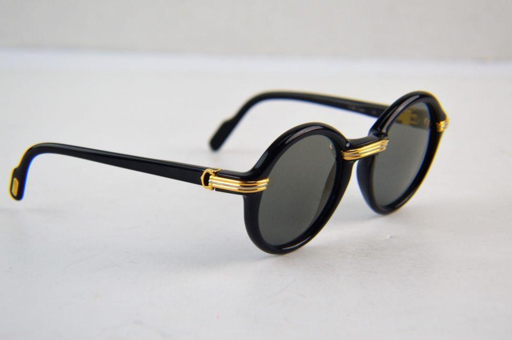 auth cartier c decor cabriolet gold plated black sunglasses 130 49