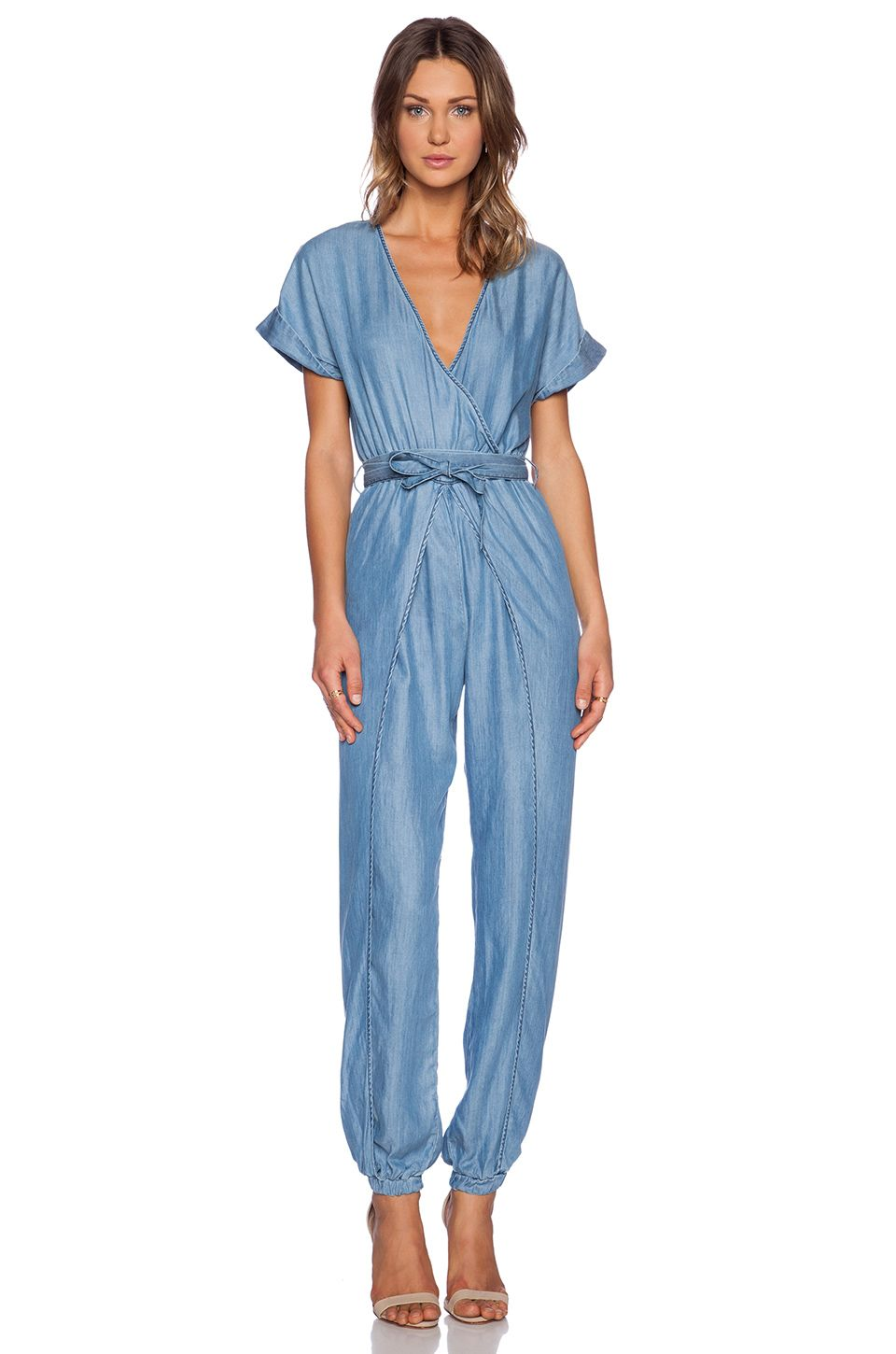 Figure-flattering wrap style jumpsuit. Chambray look, cool. Sass & Bide |#REVOLVEclothing