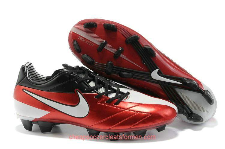 Nike T90 Laser IV FG Soccer Cleats Red White