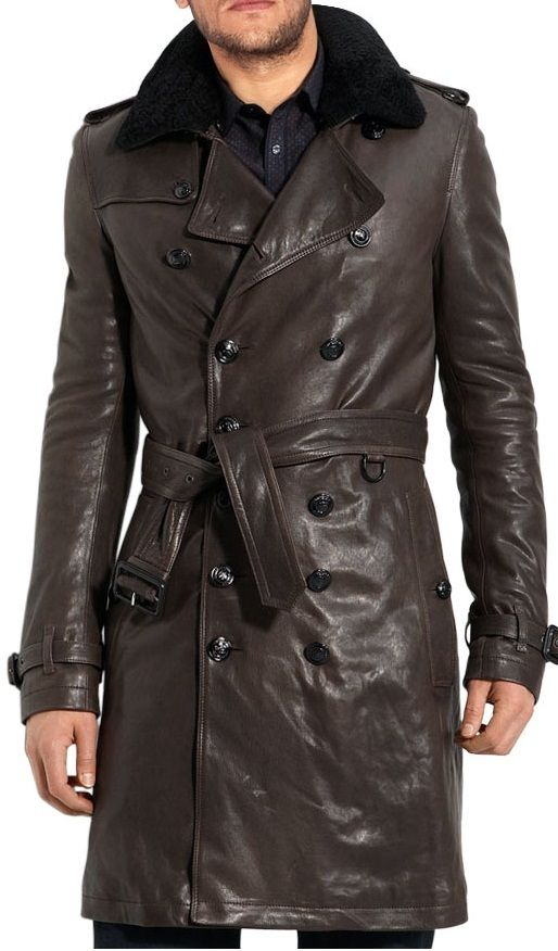 Men Belted Leather Trench Coat Mens Brown Leather Trench