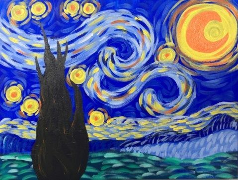How To Paint Starry Night  Step By Step Paintingnight