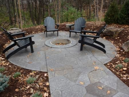 concrete patio firepit stamped concrete patio and firepit views