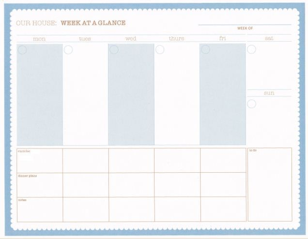 week at a glance printable i like this layout weekdays are bigger than weekend days. Black Bedroom Furniture Sets. Home Design Ideas