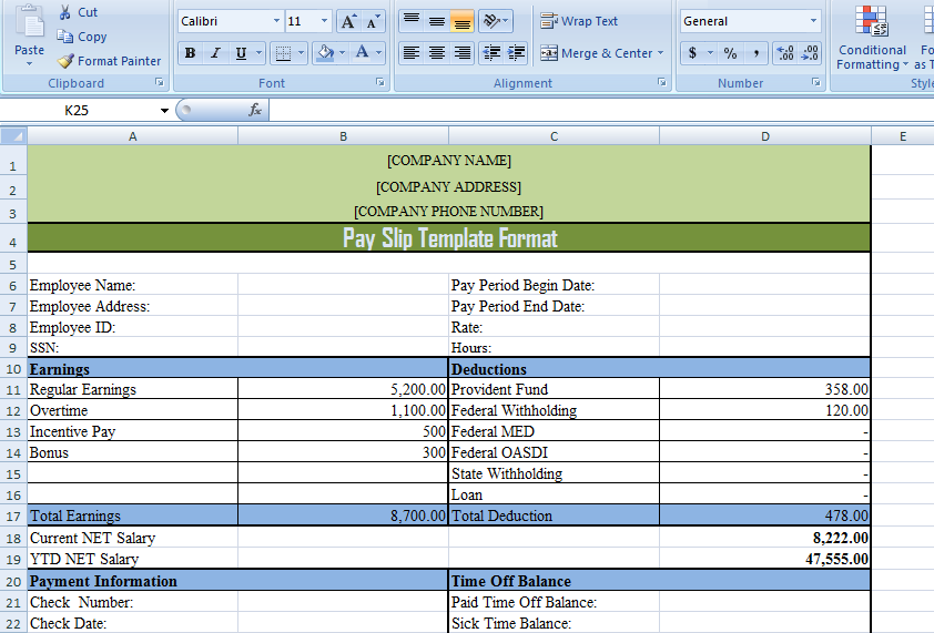 Pay Slip Template Format In Excel And Word  Exceldox  Excel