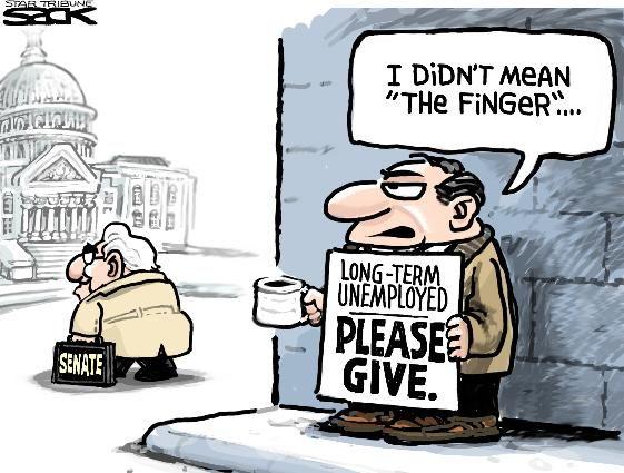 Sack Cartoon Unemployment Benefits Cartoon Political Satire