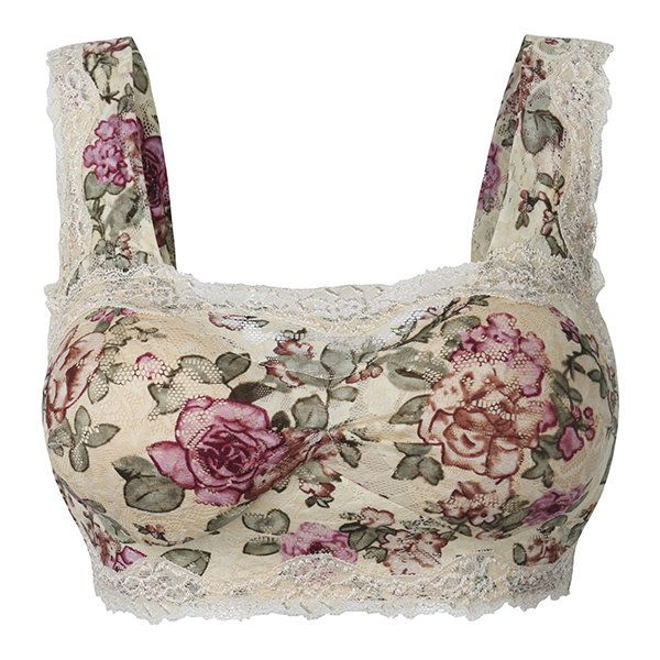 1be51ec337f Sexy Floral Printing Lace Hem Bras Breathable Wireless Vest Bra. Women  Comfy Floral Printing Lace Bra Wireless Wrapped Chest ...