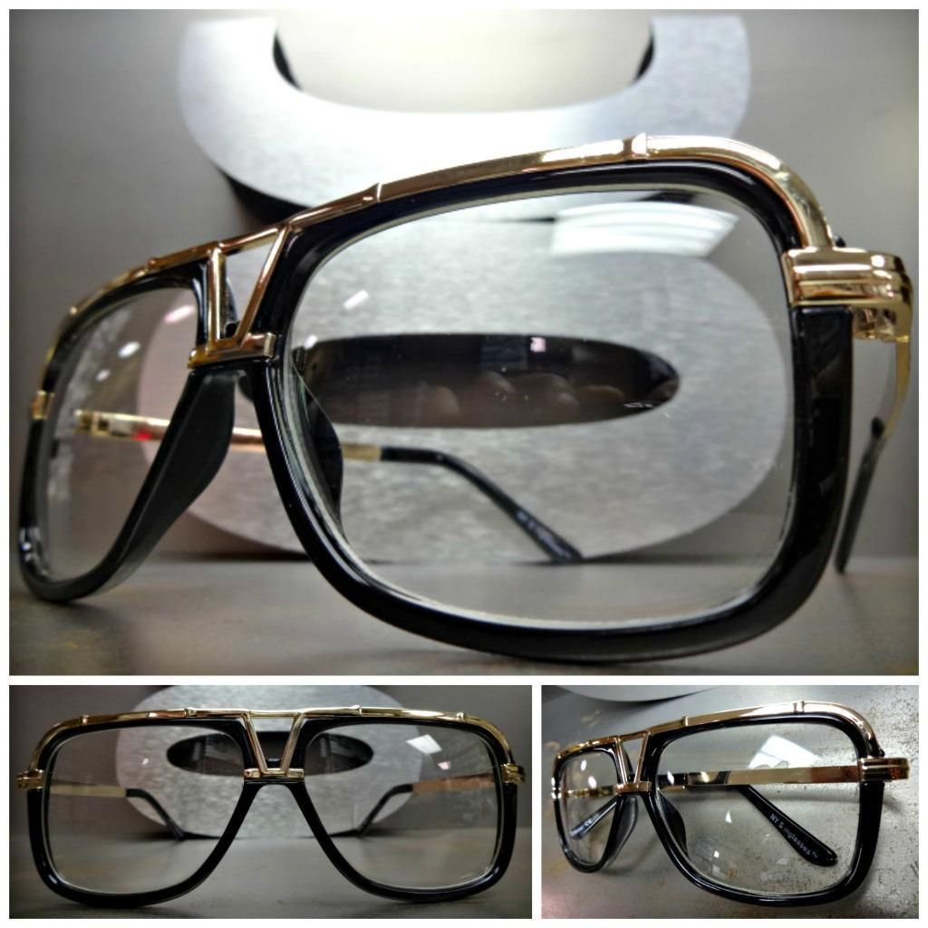 9f299d62744 Classic Vintage 70 s Retro Style Clear Lens Eye Glasses Gold Black Fashion  Frame