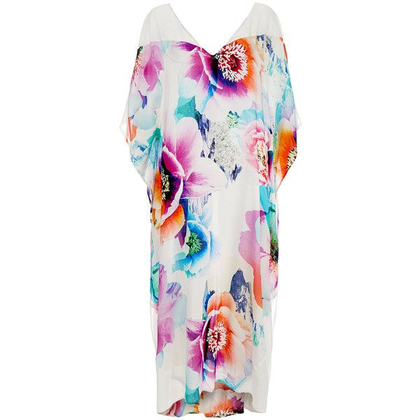 Suboo Hybrid Peony Long Line Kaftan (405 BRL) ❤ liked on Polyvore featuring tops, multicolour, drape top, drapey top, relaxed fit tops, v-neck tops and caftan tops