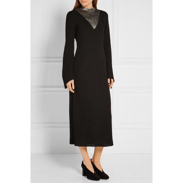 Ellery Pippin lamé-paneled stretch-knit midi dress (3,340 PEN) via Polyvore featuring dresses, lame dress, e l l e r y dress, yoke dress, bell sleeve dress y stretch knit dress