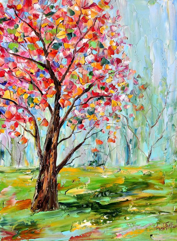 Original oil painting Spring Tree Cherry Blossoms on canvas by Karen Tarlton impressionism impasto Flower palette knife fine art
