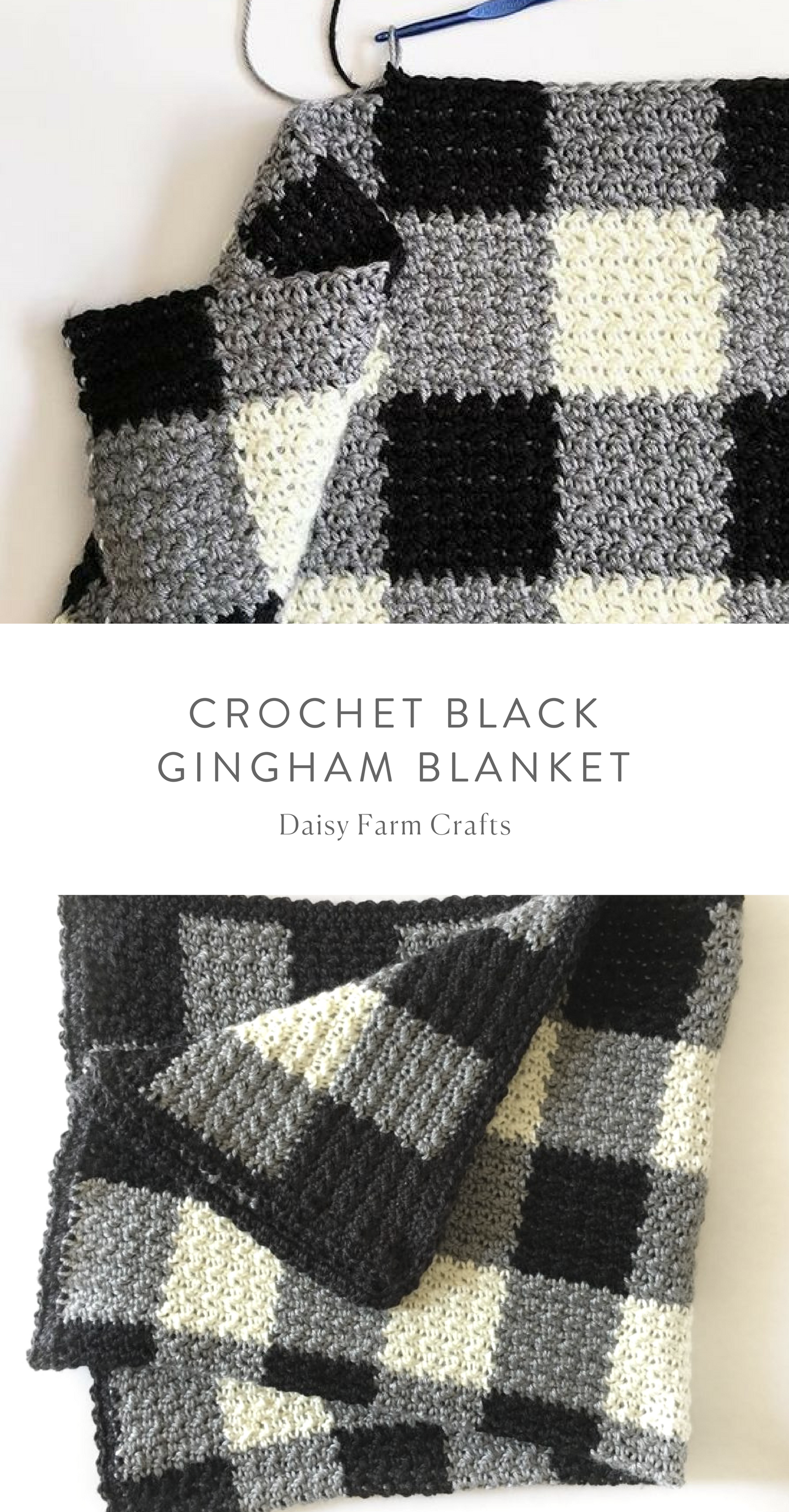 Free Pattern - Crochet Black Gingham Blanket | Crochet How to\'s ...