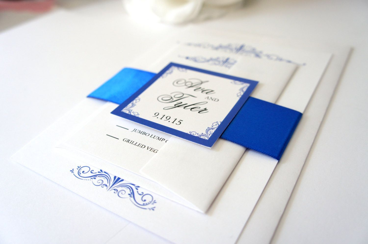 Royal Blue Wedding Invitation Invitations Set Belly Band Sophisticated Classy Formal Deposit: Royal Blue Wedding Invitation Set At Websimilar.org