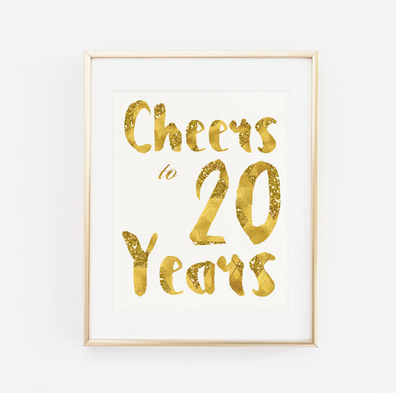 Cheers To 20 Years Party Decor Birthday Poster Decoration 20th Gold Birthd
