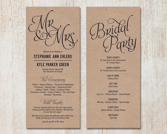 Simple Wedding Program Customizable Elegant Classic
