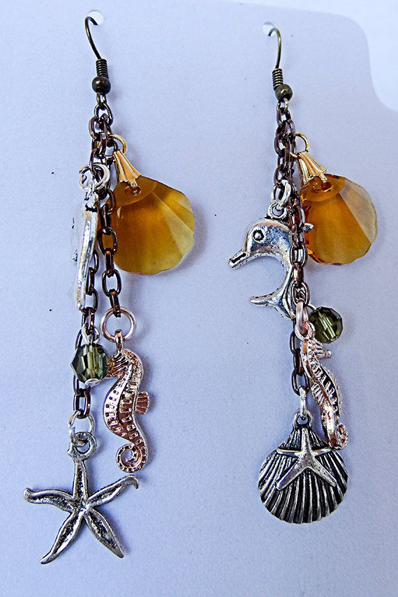 Beach earrings, beach jewelry, Swarovski seashell, topaz seashell, rose gold sea horse, antique slvr dolphin, starfish, olive crystal