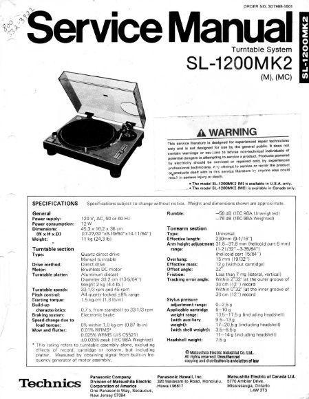 technics sl-1200 mk2 service manual en 2020
