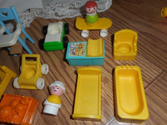 15 Fisher Price Little People Doll House Toy LOT Some Early bathtub ...