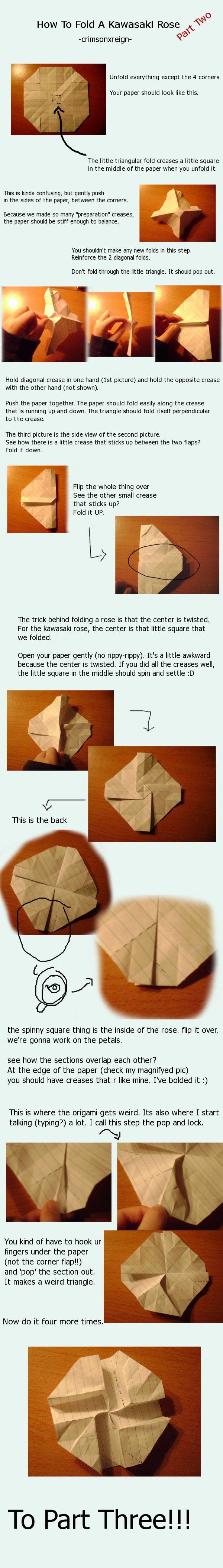Rose Origami Tutorial Pt 2 By Crimsonxreign Origami Pinterest