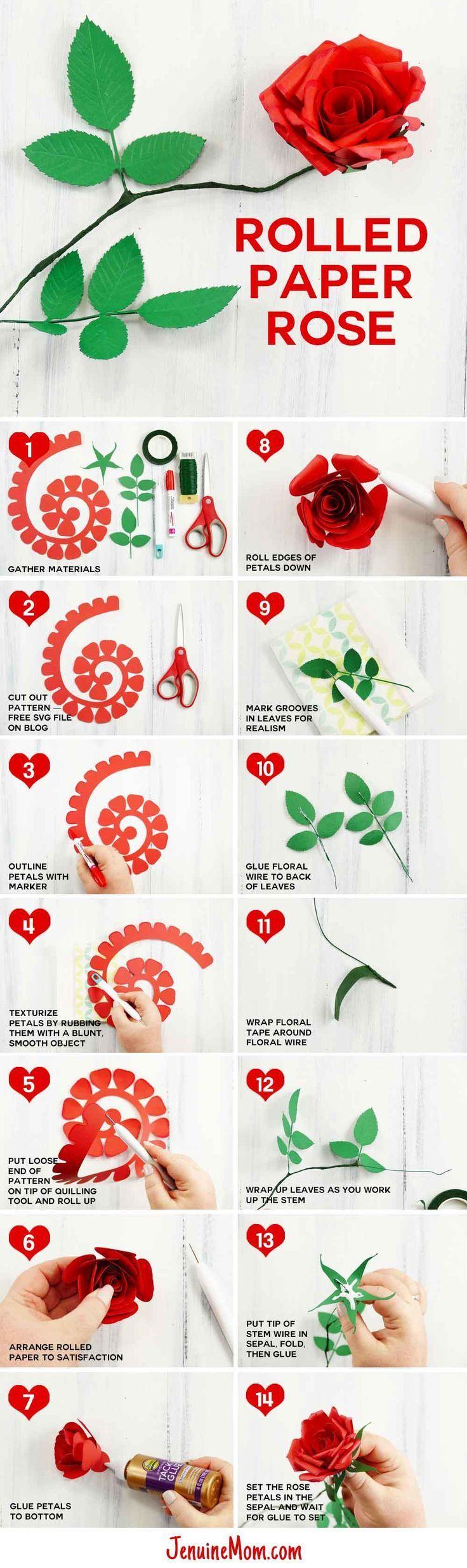 Rolled Paper Rose Tutorial Fun Realistic Paper Roses Paper