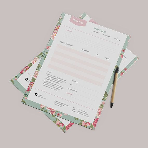 floral invoice template receipt template format by papernoon, Invoice templates