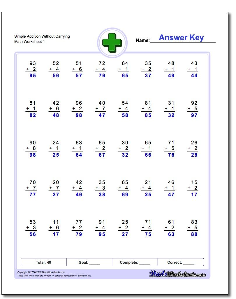Addition Worksheet Simple Without Carrying! Addition