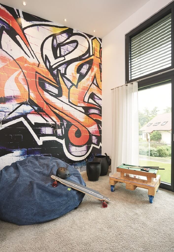 Jugendzimmer Jungs Wandgestaltung mit Graffiti Bilder Tapete ...