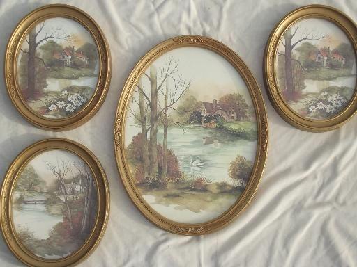 old gold oval frames w/ pastoral cottage scene watercolor prints ...