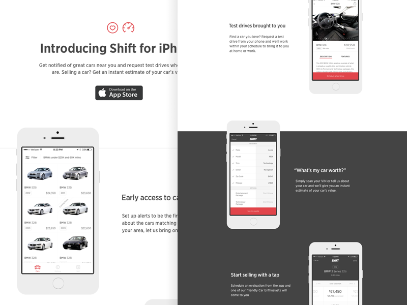 Shift iPhone app Iphone app design, Car app, App