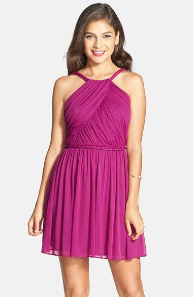 Hailey Logan Braided Strap Skater Skirt (Juniors) available at #Nordstrom bridesmaid