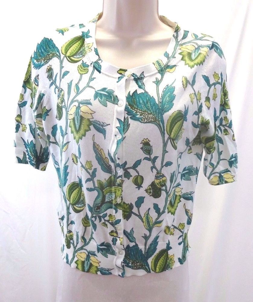 ANN TAYLOR LOFT White Green Yellow Floral Short Sleeve Cardigan ...