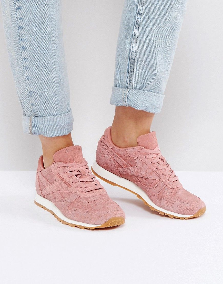 Reebok Classic Leather Faux Exotic Trainers In Pink - Pink. Trainers by  Reebok a9fb3c98f