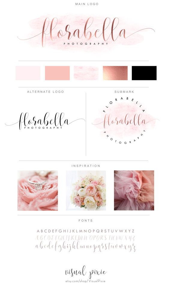 Branding Package Rose Gold Pink Watercolor Handwritten Logo