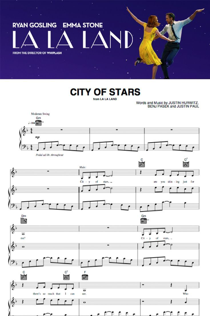 Instantly Download The Sheet Music For City Of Stars From The
