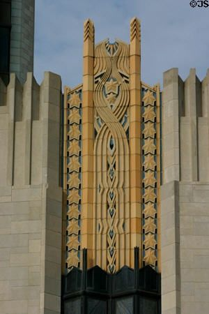 Art deco pattern over windows of Boston Avenue Methodist Church. Tulsa