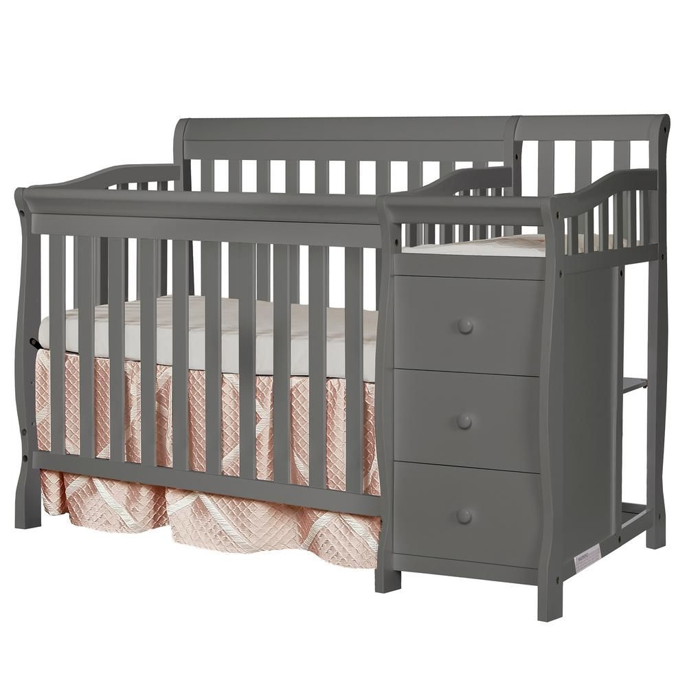 Dream On Me Jayden Steel Grey 4 In 1 Mini Convertible Crib And Changer 629 Sgy The Home Depot In 2020 Crib With Changing Table Crib And Changing Table Combo Convertible Crib