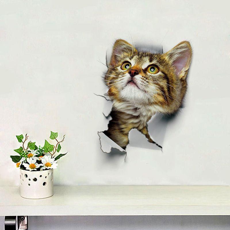 1PC Cute 3D Kitten Cat Wall Stickers Viny Bedroom Fridge Home Mural Art Decor