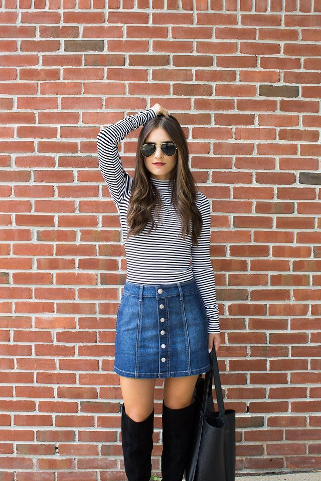 autumn, winter, denim skirt, cable knit, jumper, winter, style ...