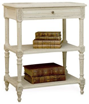 Napoleon French Country Old Creme Caned Nightstand Side Table - French country nightstand