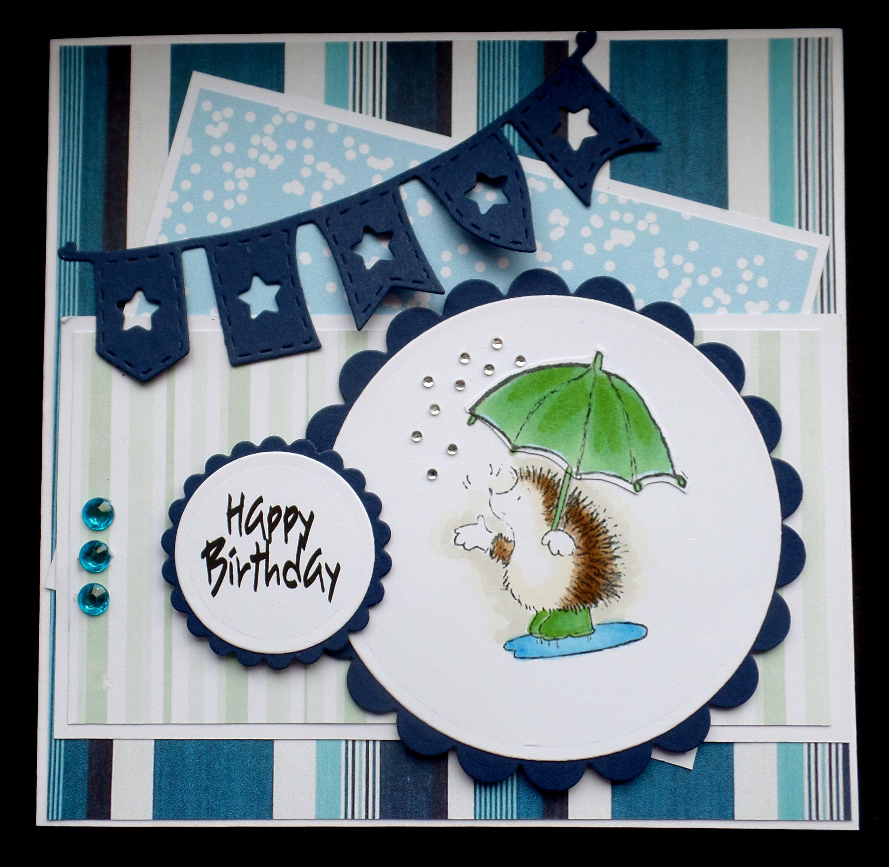 S180 Hand Made Birthday Card Using Pb Hedgehog Rainbow Hearts Card