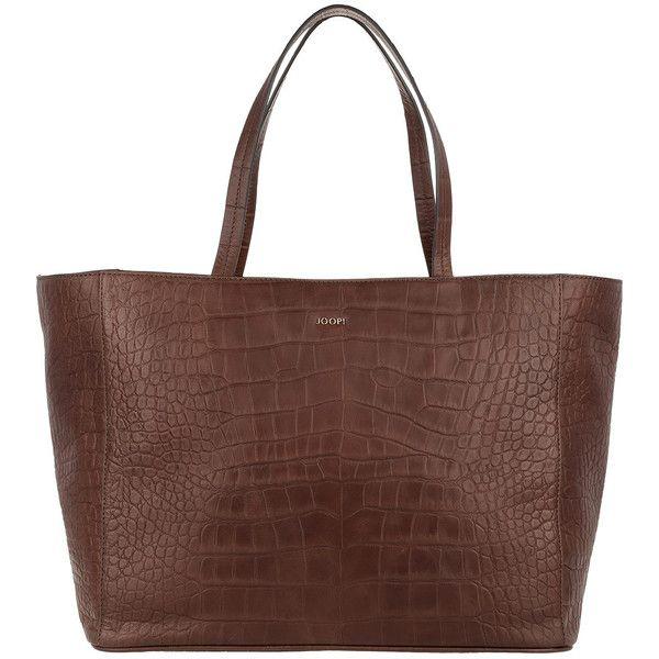 JOOP! Elea Shopper Large Croco Brown (€180) ❤ liked on Polyvore featuring bags, handbags, tote bags, croc embossed handbags, crocodile tote, brown crocodile handbag, shopping bag and crocodile handbags