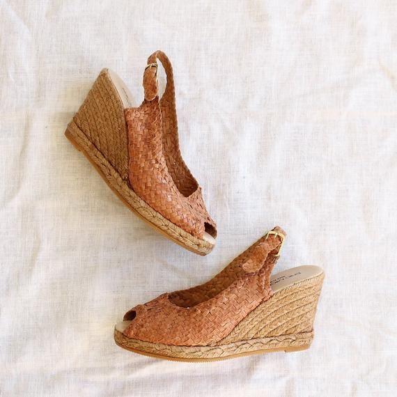 vintage woven leather espadrilles | espadrille wedges