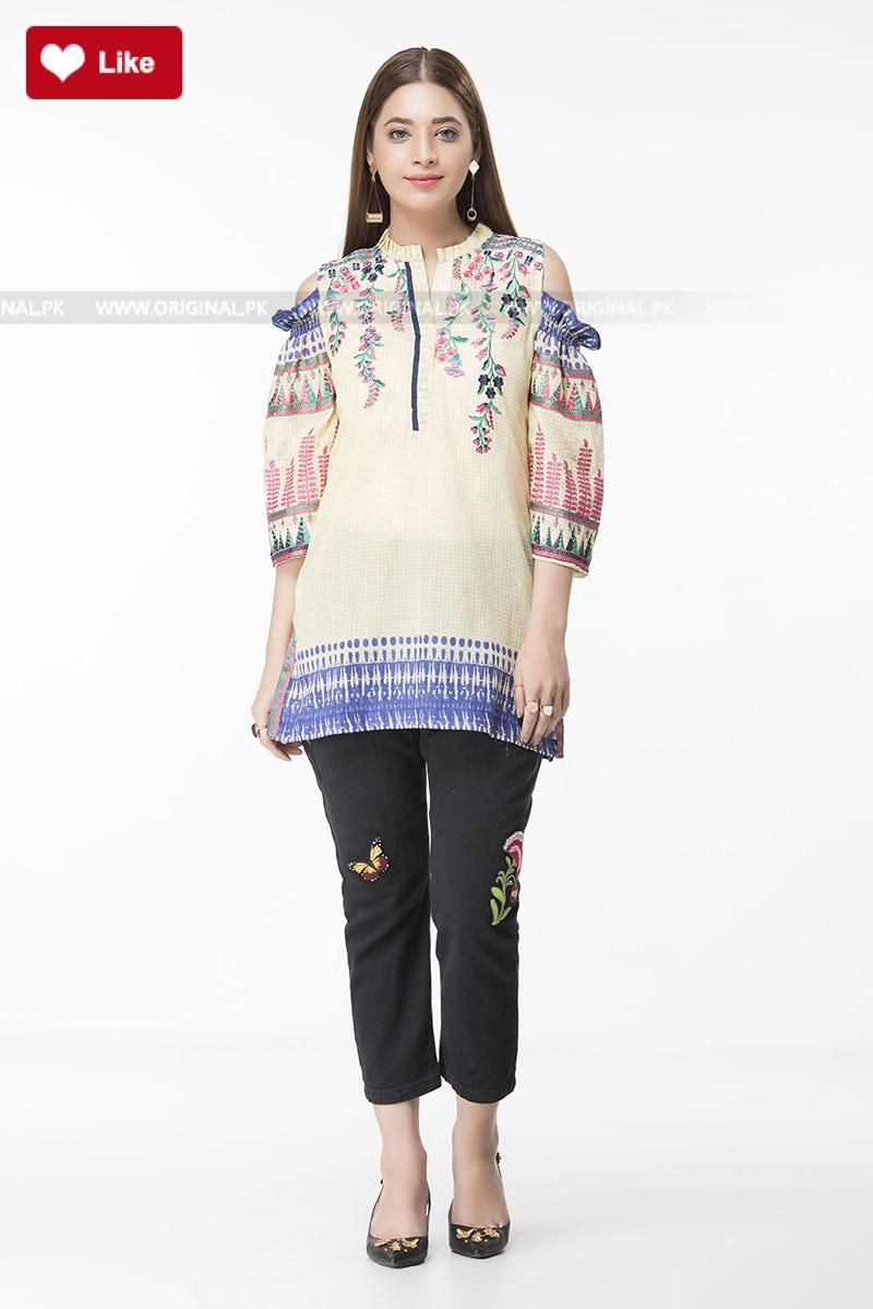b49164927878d Ethnic Cold Shoulder Fusion Top EWPFS17062-MTP Pret 2017 - Original Online  Shopping Store  ethnic  ethnic2017  ethniclawn  ethniclawn2017   ethnicpret2017 ...