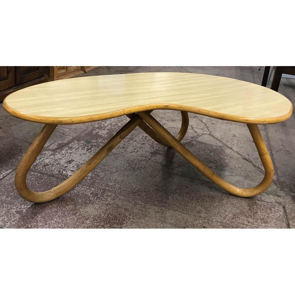 Mid Century Kidney Bean Shape Bamboo Coffee Table Table Coffee
