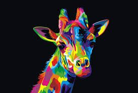 Resultado De Imagen De Dibujo Animales Coloridos Giraffe Painting Animal Paintings Colorful Animals
