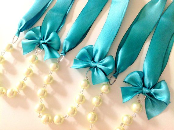 Blue Silk Ribbon Necklace - 3 Robin's Egg Blue NecklaceS - Blue Wedding Necklaces - Bridesmaid Jewelry - Bridesmaid Gifts Set of 3