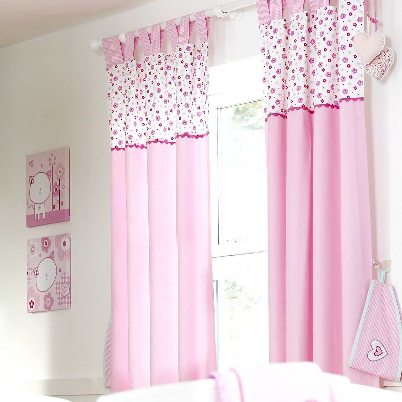 Baby Nursery Curtains Pink Curtains Kids Curtains Pair: Baby Girls Curtains, Baby Girls Tab Top Curtains, Pink