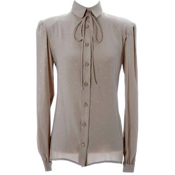 bb094ba2358de Preowned Valentino Boutique Vintage Logo Blouse Silk 1970s Italy ( 275) ❤  liked on Polyvore featuring tops