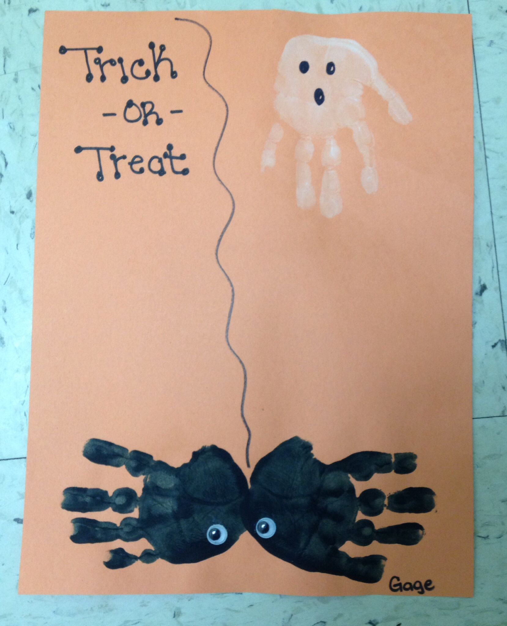 Spooky Ghost And Spider My Two Year Old Students Did This Craft Using Their Hands They Really