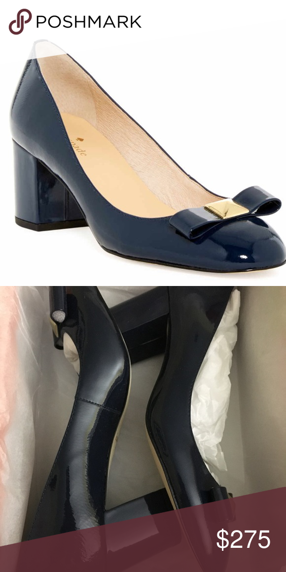5b2986ab6243 Kate Spade Patent Navy Heels Kate Spade Patent Navy Heels. NWT. Love these  classic and conservative navy heels with a round toe and the bow which makes  it ...