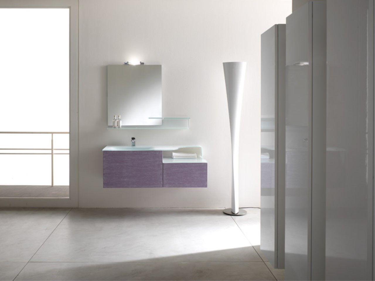 Modern small bathroom storage furniture and undermount sink idea